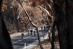 The peloton speed through the charred landscape on Stage 3 of 2020 Santos Women's Tour Down Under, a 109.1 km road race from Nairne to Stirling, Australia on January 18, 2020. Photo by Sean Robinson/velofocus.com