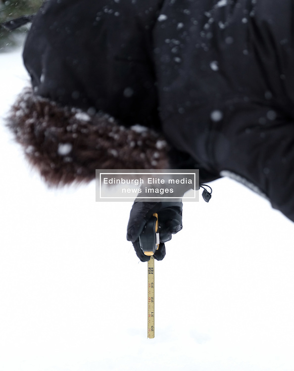 Beast From The East, 1st March 2018<br /> <br /> The heavy snow which keeps falling in central Scotland measured over 19 inches today<br /> <br /> Alex Todd | EEm