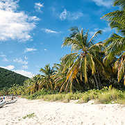 The white sandy beach of White Bay on Jost Van Dyke in the British Virgin Islands.