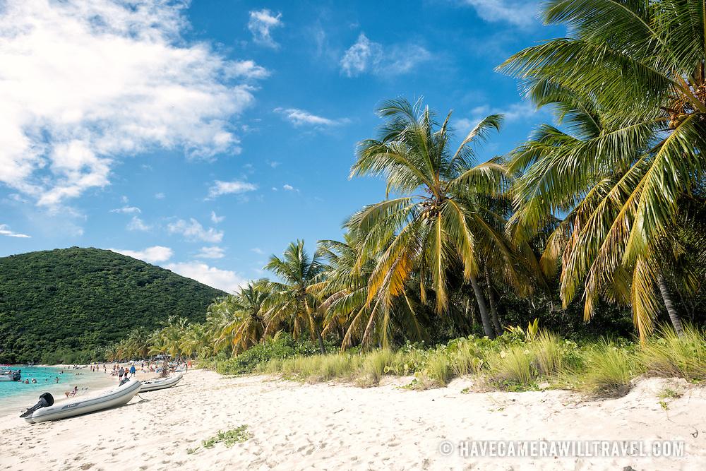 The white sandy beach of White Bay on Jost Van Dyke in the British Virgin Islands.