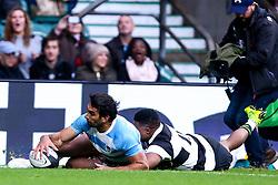 Matias Orlando of Argentina scores a try - Mandatory by-line: Robbie Stephenson/JMP - 01/12/2018 - RUGBY - Twickenham Stadium - London, England - Barbarians v Argentina - Killick Cup