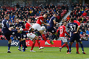 Middlesbrough forward Rudy Gestede (39) heads narrowly wide during the EFL Sky Bet Championship match between Middlesbrough and Derby County at the Riverside Stadium, Middlesbrough, England on 27 October 2018.