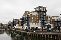 © Licensed to London News Pictures. 21/02/2017. LONDON, UK.  A general view of Victory Place luxury apartments in Limehouse, east London. Gabby and Florian Kuehn claim they were told their pet dog, a Yorkshire terrier cross, Vinnie could live in their flat in Victory Place when they purchased it, but the management firm, Victory Place has subsequently insisted it has has a blanket no-pets policy. The animal rescue charity, All Dogs Matter are backing the couple and says no-pet rules see thousands of pets dumped each year and the rules are particularly unfair on the elderly and vulnerable who rely on pets for support and companionship.  Photo credit: Vickie Flores/LNP