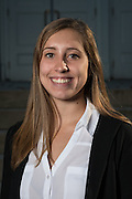 Elyse Lutz poses for a portrait in front of Ohio University's Memorial Auditorium as part of the College of Business's Emerging Leaders program on September 21, 2016.