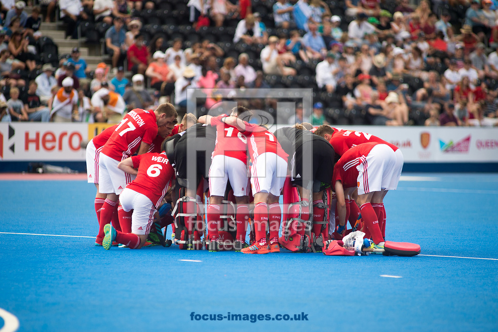England having a team talk on day four of the Men's Hero Hockey World League Semi-Finals at Lee Valley Hockey Centre, Stratford<br /> Picture by Hannah Fountain/Focus Images Ltd 07814482222<br /> 18/06/2017