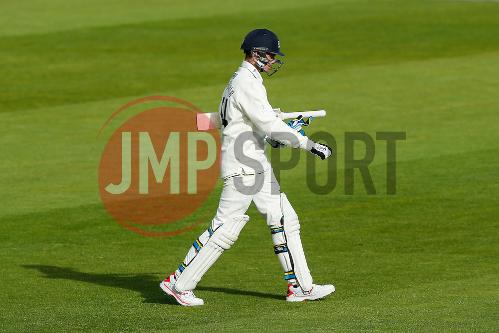 Peter Handscomb of Gloucestershire looks dejected to be dismissed for 69 - Photo mandatory by-line: Rogan Thomson/JMP - 07966 386802 - 18/05/2015 - SPORT - CRICKET - Bristol, England - Bristol County Ground - Gloucestershire v Kent - Day 1 - LV= County Championship Division Two.