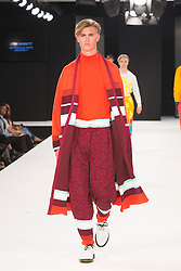 """© Licensed to London News Pictures. 02/06/2015. London, UK. Collection by Ella Nisbett; Nottingham Trent University. Runway show """"Best of Graduate Fashion Week 2015"""". Graduate Fashion Week takes place from 30 May to 2 June 2015 at the Old Truman Brewery, Brick Lane. Photo credit : Bettina Strenske/LNP"""