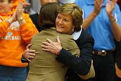 Dec 20, 2011; Stanford CA, USA;  Tennessee Lady Volunteers head coach Pat Summitt (right) hugs Stanford Cardinal head coach Tara VanDerveer (left) before the game at Maples Pavilion.  Mandatory Credit: Jason O. Watson-US PRESSWIRE