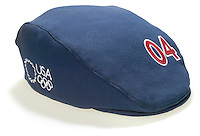 2004 olympic hat photographed on a white background