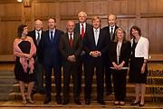 Koning Willem Alexander bij uitreiking Heinekenprijzen in de Beurs van Berlage. / King Willem Alexander at Heineken Awards ceremony in the Beurs van Berlage.<br /> <br /> Op de foto / On the photo:  Koning Willem Alexander poseert voorafgaand aan de uitreiking van de Heinekenprijzen voor wetenschap en kunst met de winnaars. (VLNR) Wendelien van Oldenburgh (Kunst), James McClelland (Cognitie wetenschap), Jaap Sinninghe Damste (Milieuwetenschappen), Hans Clevers (President KNAW), Christopher Dobson (Biochemie en Biofysica), Koning Willem Alexander, Kari Alitalo (Geneeskunde), Charlene de Carvalho-Heineken, Aleida Assmann (Historische Wetenschap).