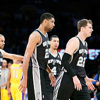 19 March 2014: San Antonio Spurs guard Tony Parker (9), San Antonio Spurs guard Danny Green (4), San Antonio Spurs forward Tim Duncan (21) and San Antonio Spurs center Tiago Splitter (22) are seen during the San Antonio Spurs 125-109 victory over the Los Angeles Lakers at the Staples Center, Los Angeles, California, USA.