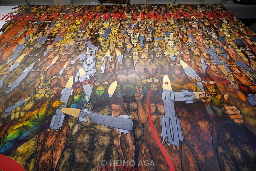 Kassel, Germany. Opening days of documenta14.<br /> Neue Neue Galerie.<br /> Gordon Hockey: Murriland!, 2017