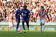 Leicester City's N'Golo Kante travels with the ball during the Barclays Premier League match between Stoke City and Leicester City at the Britannia Stadium, Stoke-on-Trent, England on 19 September 2015. Photo by Aaron Lupton.