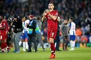 Liverpool defender Dejan Lovren (6) applauds the Kop at the end of the Champions League Quarter-Final Leg 1 of 2 match between Liverpool and FC Porto at Anfield, Liverpool, England on 9 April 2019.