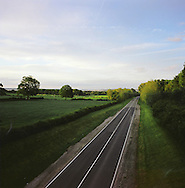 A private road leading to the Shell manufacturing complex at the Stanlow next to the river Mersey in Cheshire. The Mersey is a river in north west England which stretches for 70 miles (112 km) from Stockport, Greater Manchester, ending at Liverpool Bay, Merseyside. For centuries, it formed part of the ancient county divide between Lancashire and Cheshire.