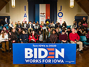 18 JANUARY 2020 - INDIANOLA, IOWA: People wait for a Joe Biden campaign event to start at Simpson College Saturday. About 250 people came to Simpson College to listen to Vice President talk about his reasons for running for President. Iowa hosts the first event of the presidential election cycle. The Iowa Caucuses are Feb. 3, 2020.        PHOTO BY JACK KURTZ