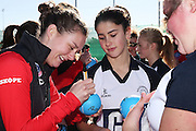 Nicola Mackle of the Tactix signs an autograph for Paris Dyer, 13 of Southbridge Netball Club during the ANZ Championship Roadshow, Win a Warmup, held at the Selwyn Netball Centre, Lincoln. 17 May 2014 Photo: Joseph Johnson/www.photosport.co.nz