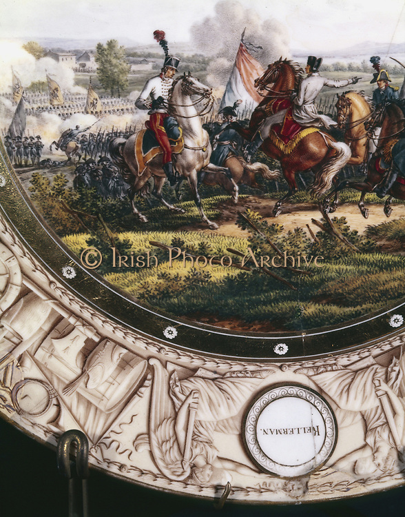 Battle of Marengo, 14 June 1800. French under Bonaparte defeat the Austrians. French charge led by Francois Kellermann (1770-1835), son of Marshal Kellermann. Early 19th century Sevres plate.