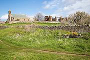 Church and abbey ruins Holy Island, Lindisfarne, Northumberland, England
