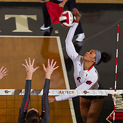 09 November 2017:  The San Diego State Aztecs women's volleyball team hosts UNLV Thursday night at Peterson Gym. San Diego State outside hitter Ashlynn Dunbar (6) spikes the ball during a game against UNLV. The Aztecs won 3-1 (25-18; 16-25; 25-12; 25-13).<br /> www.sdsuaztecphotos.com