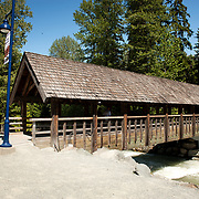 The covered bridge on the trail between Whistler and Blackcomb Mountains.  Whistler BC, Canada