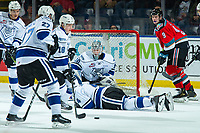 KELOWNA, CANADA - DECEMBER 7:  Ralph Jarratt #4 falls to the ice to block a shot on Griffen Outhouse #30 of the Victoria Royals as Mark Liwiski #9 of the Kelowna Rockets looks for the rebound during second period on December 7, 2018 at Prospera Place in Kelowna, British Columbia, Canada.  (Photo by Marissa Baecker/Shoot the Breeze)