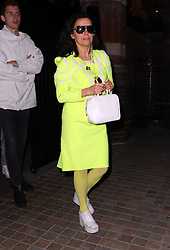 Icelandic singer-songwriter, Björk wearing neon green dress with matching tights and white platform shoes at The Chiltern Firehouse in London, UK. 31/07/2014<br />BYLINE MUST READ : JAMESY/GOTCHA IMAGES<br /><br />Copyright by © Gotcha Images Ltd. All rights reserved.<br />Usage of this image is conditional upon the acceptance <br />of Gotcha Images Ltd, terms and conditions available at<br />www.gotchaimages.com