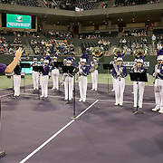 March 7, 2015, Indian Wells, California:<br /> A band plays during the McEnroe Challenge for Charity presented by Masimo in Stadium 2 at the Indian Wells Tennis Garden in Indian Wells, California Saturday, March 7, 2015.<br /> (Photo by Billie Weiss/BNP Paribas Open)