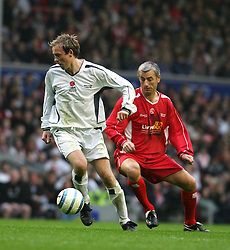 LIVERPOOL, ENGLAND - SUNDAY MARCH 27th 2005: Liverpool Legends' Ian Rush and Celebrity XI's Joe Lovejoy during the Tsunami Soccer Aid match at Anfield. (Pic by David Rawcliffe/Propaganda)