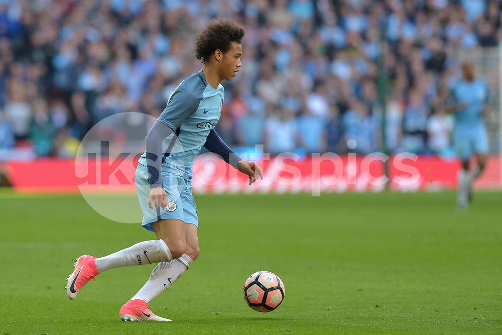 Leroy Sané of Manchester City in action during the The FA Cup Semi Final match between Arsenal and Manchester City at Wembley Stadium, London, England on 23 April 2017. Photo by Vince Mignott.