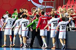 16.01.2018, Zatika Sport Centre, Porec, CRO, EHF EM, Herren, Österreich vs Norwegen, Gruppe B, im Bild Alexander Hermann (AUT), Thomas Bauer (AUT), Julian Ranftl (AUT), Thomas Kandolf (AUT), Kristian Pilipovic (AUT), Janko Bozovic (AUT), Sebastian Frimmel (AUT), Tobias Schopf (AUT) // during the preliminary round, group B match of the EHF men' s Handball European Championship between Austria and Norway at the Zatika Sport Centre in Porec, Croatia on 2018/01/16. EXPA Pictures © 2018, PhotoCredit: EXPA/ Sebastian Pucher