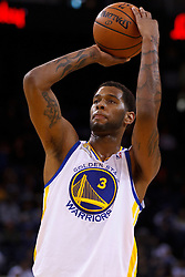 Mar 16, 2012; Oakland, CA, USA; Golden State Warriors forward Jeremy Tyler (3) shoots a free throw against the Milwaukee Bucks during the fourth quarter at Oracle Arena. Milwaukee defeated Golden State 120-98. Mandatory Credit: Jason O. Watson-US PRESSWIRE