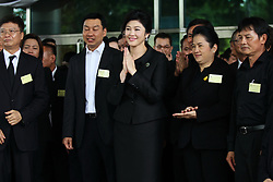 August 20, 2017 - Nonthaburi, Nonthaburi, Thailand - Yingluck Shinawatra, the former Prime Minister of Thailand attended the last match of witness inquisition on the rice pledge case. Thousands of people come to support and give encouragement at the Politician Supreme Court, Chaeng Watthana Government Complex, Nonthaburi. (Credit Image: © Thitinun Sampiphat/Pacific Press via ZUMA Wire)