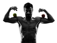 one caucasian man exercising fitness exercises in studio silhouette isolated on white background