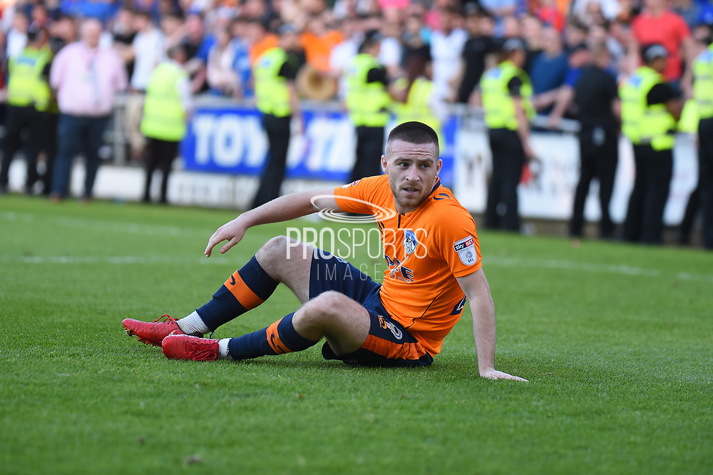 Oldham Athletic midfielder Jack Byrne (29) left on the floor during the EFL Sky Bet League 1 match between Northampton Town and Oldham Athletic at Sixfields Stadium, Northampton, England on 5 May 2018. Picture by Dennis Goodwin.