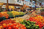 Produce stall at Granville Island Public Market, Vancouver, British Columbia, Canada..