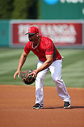 ANAHEIM, CA - MAY 17:  Albert Pujols #5 of the Los Angeles Angels of Anaheim fields a ground ball during batting practice before the game against the Tampa Bay Rays at Angel Stadium on Saturday, May 17, 2014 in Anaheim, California. The Angels won the game in a 6-0 shutout. (Photo by Paul Spinelli/MLB Photos via Getty Images) *** Local Caption *** Albert Pujols