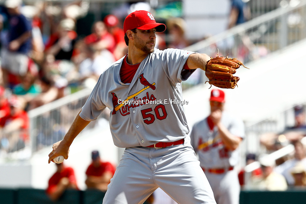 March 9, 2011; Ft. Myers, FL, USA; St. Louis Cardinals starting pitcher Adam Wainwright (50) during the first inning of a spring training game against the Minnesota Twins at Hammond Stadium. Mandatory Credit: Derick E. Hingle-US PRESSWIRE