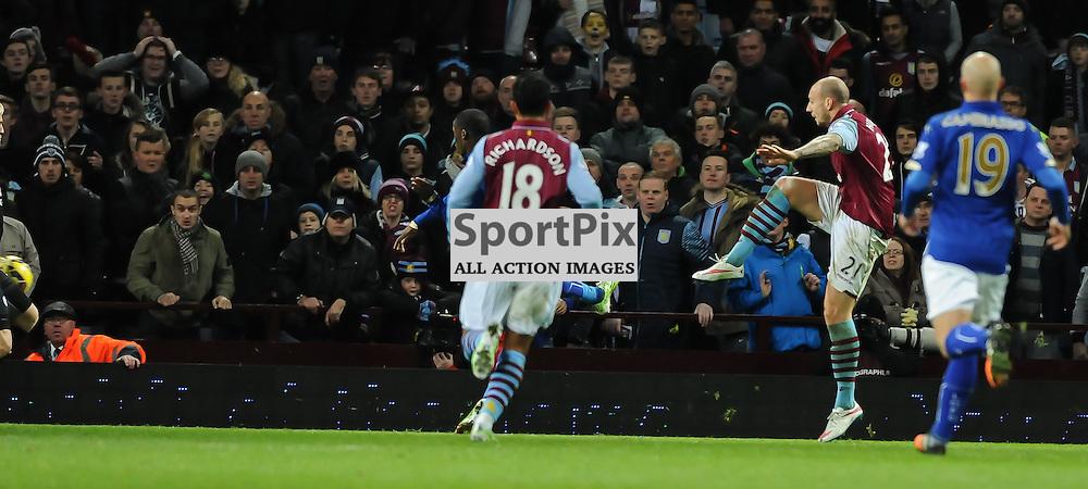 Alan Hutton scores the winner for Aston Villa in their 2-1 win (c) Simon Kimber | SportPix.org.uk