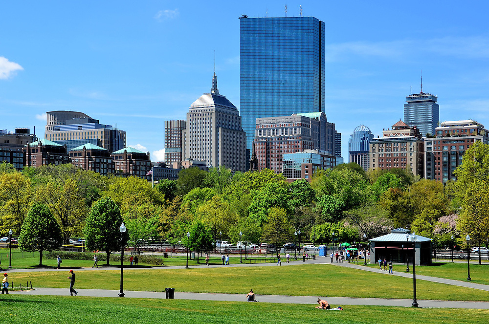 Boston Common and Back Bay Skyline in Boston, Massachusetts  <br /> The Boston Common is the oldest U.S. city park with origins from 1634.  Once owned by William Blaxton, who was Boston&rsquo;s first resident from Europe, it was used as a public cow pasture for two hundred years.  Today, the 50 acre park is an oasis in the center of Boston.  To the north is Beacon Hill, to the east is the historic, financial, government and downtown areas, to the south is Chinatown and to the west, which is shown here, is the skyline of Back Bay&rsquo;s skyscrapers.