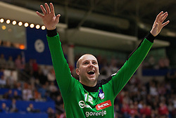 Gorazd Skof of Slovenia celebrate during handball match between Iceland and Slovenia in  3rd Round of Preliminary Round of 10th EHF European Handball Championship Serbia 2012, on January 20, 2012 in Millennium Center, Vrsac, Serbia. Slovenia defeated Iceland 34-32. (Photo By Vid Ponikvar / Sportida.com)