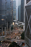 China Hong Kong office buildings and street elevated view
