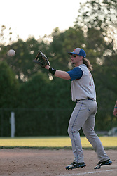 27 June 2014:   Jeremy O'Neill during a Mens Professional Fastpitch Softball game between the Central Illinois Knights from Villa Grove and the Bloomington Stix from Bloomington, played at O'Neil Park in Bloomington, Illinois