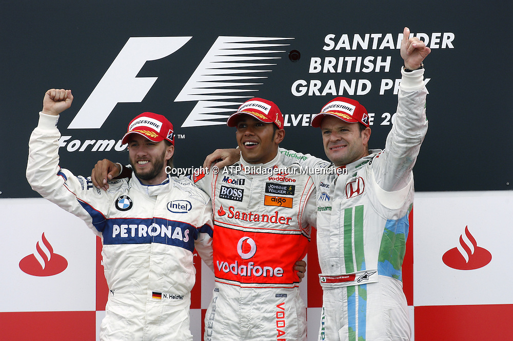 Lewis HAMILTON, Team McLaren-Mercedes - race winner and Nick HEIDFGELD and Rubens BARRICHELLO - Podium - Siegerehrung - <br /> - Silverstone, Formel 1 - 06.07.2008, F1 GP von England in Silverstone - British GP - Foto: &copy; ATP Arthur THILL