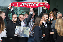 © Licensed to London News Pictures. 26/04/2016. Warrington, UK. People outside the court after the jury delivers their verdicts at the Hillsborough Inquest, at the coroner's court at Birchwood Park.  Photo credit: Joel Goodman/LNP