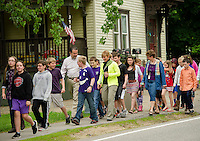 Elm Street students are joined by Mayor Ed Engler and Health and Wellness Coordinator Tammy Levesque during the WALK NH program on Thursday morning.  (Karen Bobotas/for the Laconia Daily Sun)