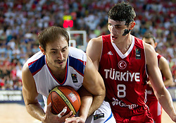 Nenad Krstic of Serbia vs Ersan Ilyasova of Turkey during the second semifinal basketball match between National teams of Serbia and Turkey at 2010 FIBA World Championships on September 11, 2010 at the Sinan Erdem Dome in Istanbul, Turkey. Turkey defeated Serbia 83 - 82 and qualified to finals.  (Photo By Vid Ponikvar / Sportida.com)