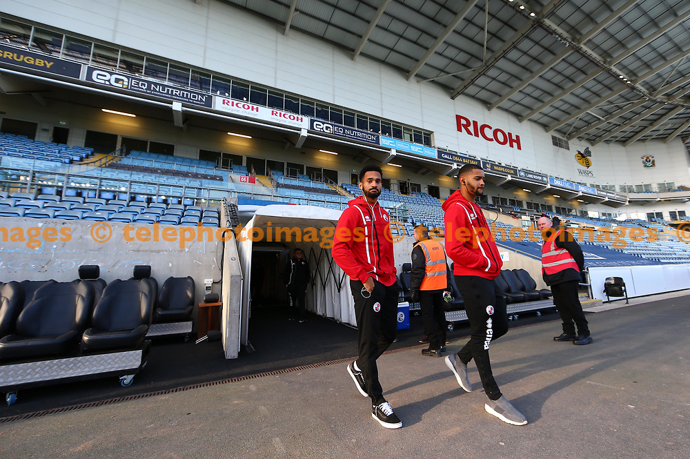 Crawley's Josh Yorwerth  and Jordan Roberts seen before the Sky Bet League 2 match between Coventry City and Crawley Town at the Ricoh Arena in Coventry. 25 Nov 2017
