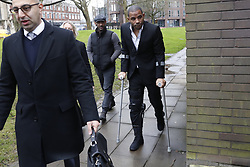 © Licensed to London News Pictures. 05/01/2018. Guildford, UK. Crystal Palace football club captain Jason Puncheon arrives at Guildford Magistrates Court. He is charged with various offences including  common assault  and possession of an offensive weapon after an altercation outside a nightclub in Reigate in the early hours of December 17th, 2017. Photo credit: Peter Macdiarmid/LNP