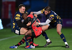 Perry Humphreys of Worcester Warriors and Ben Howard of Worcester Warriors  tackles Silvere Tian of Oyonnax  - Mandatory by-line: Alex Davidson/JMP - 09/12/2017 - RUGBY - Sixways Stadium - Worcester, England - Worcester Warriors v Oyonnax - European Rugby Challenge Cup